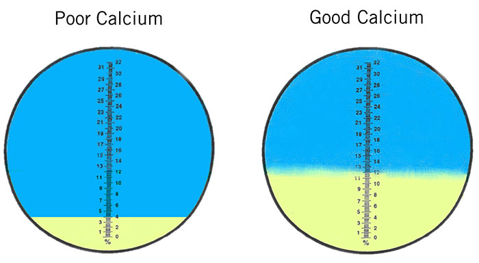 refractometer calcium readings