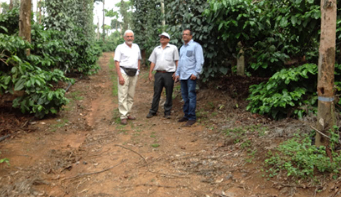 Agronomist Steve Capeness with coffee growers in India
